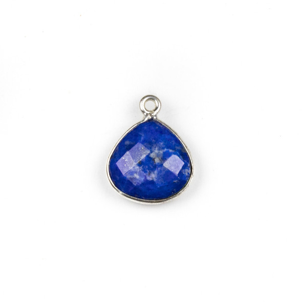 Lapis approximately 13x17mm Almond Teardrop Drop with a Silver Plated Brass Bezel - 1 per bag