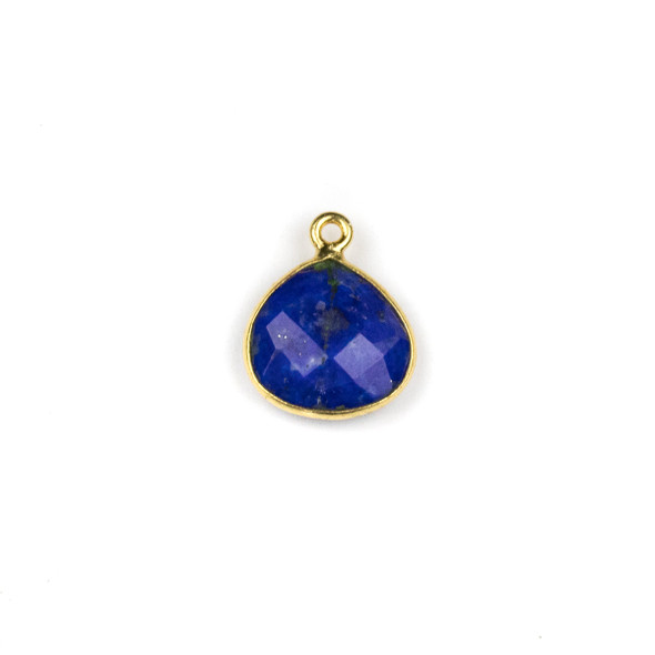 Lapis approximately 13x16mm Almond Teardrop Drop with a Gold Plated Brass Bezel - 1 per bag