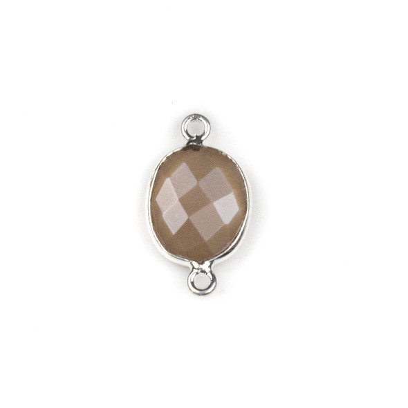 Mystic Moonstone approximately 12x20mm Oval Link with a Silver Plated Brass Bezel - 1 per bag