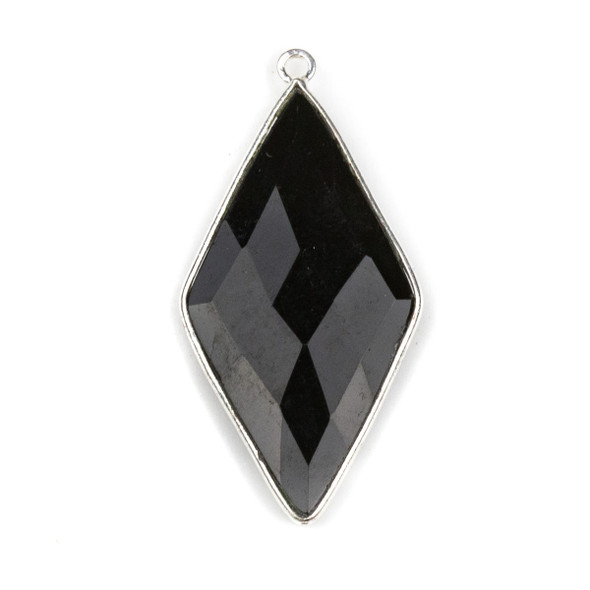 Onyx approximately 21x44mm Diamond Drop with a Silver Plated Brass Bezel - 1 per bag
