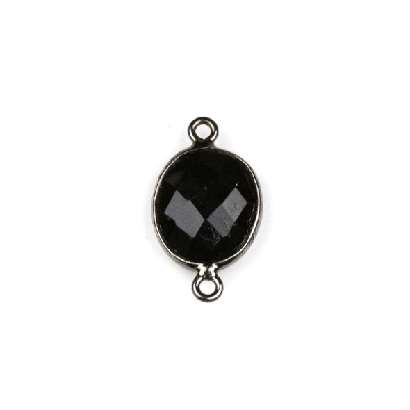 Onyx approximately 12x20mm Oval Link with a Gun Metal Plated Brass Bezel - 1 per bag