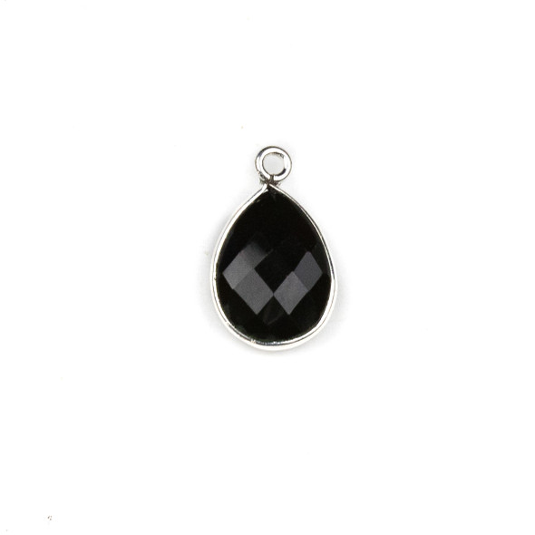 Onyx approximately 11x19mm Teardrop Drop with a Silver Plated Brass Bezel - 1 per bag