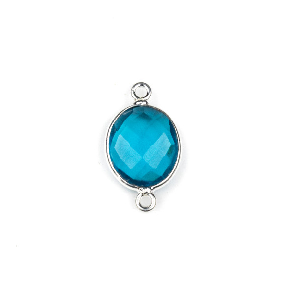 London Blue Quartz approximately 12x20mm Oval Link with a Silver Plated Brass Bezel - 1 per bag