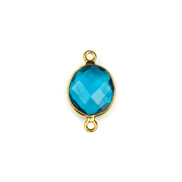 London Blue Quartz approximately 12x20mm Oval Link with a Gold Plated Brass Bezel - 1 per bag