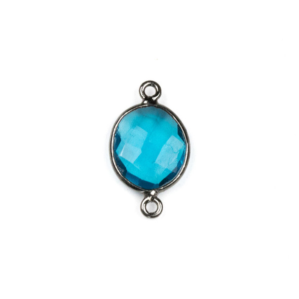 London Blue Quartz approximately 12x20mm Oval Link with a Gun Metal Plated Brass Bezel - 1 per bag