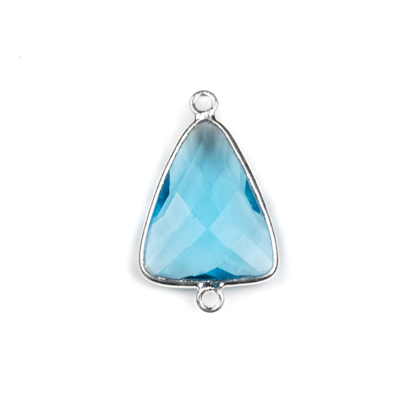 Sky Blue Topaz Quartzapproximately 17x28mm Triangle Link with a Silver Plated Brass Bezel - 1 per bag
