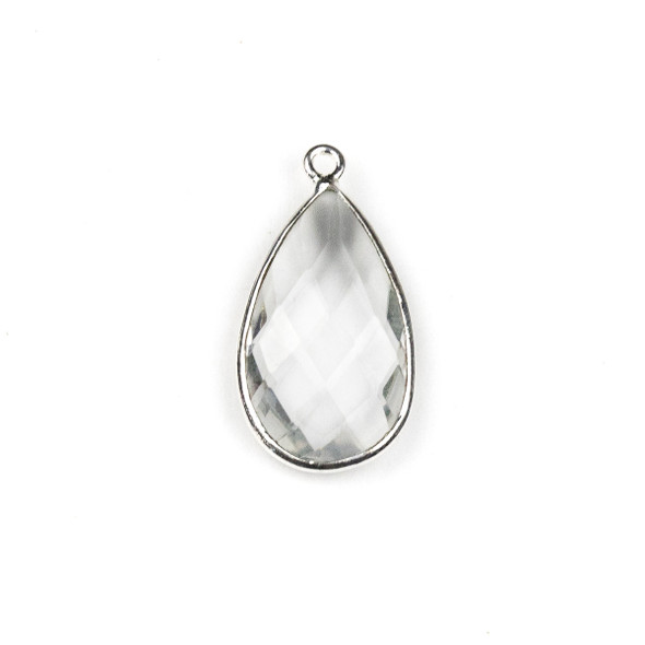 Quartz approximately 13x24mm Teardrop Drop with a Silver Plated Brass Bezel - 1 per bag