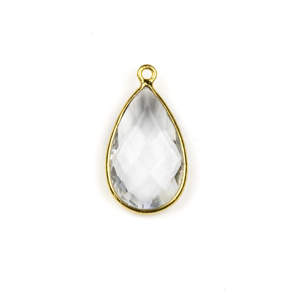 Quartz approximately 13x24mm Teardrop Drop with a Gold Plated Brass Bezel - 1 per bag