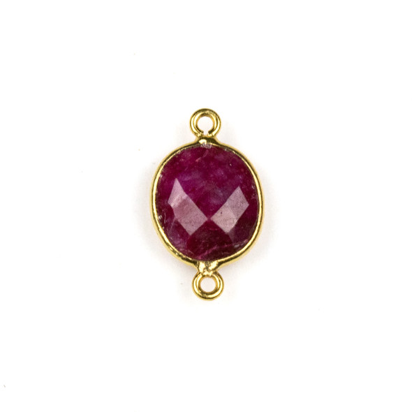 Ruby approximately 11x20mm Oval Link with a Gold Plated Brass Bezel - 1 per bag