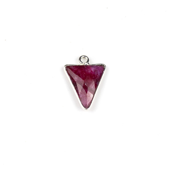 Ruby approximately 14x20mm Faceted Small Triangle Drop with Silver Plated Brass Bezel - 1 per bag