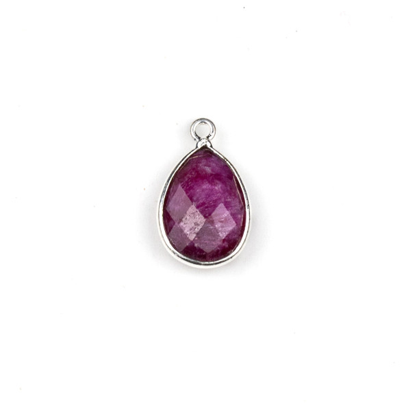 Ruby approximately11x18mm Teardrop Drop with a Silver Plated Brass Bezel - 1 per bag