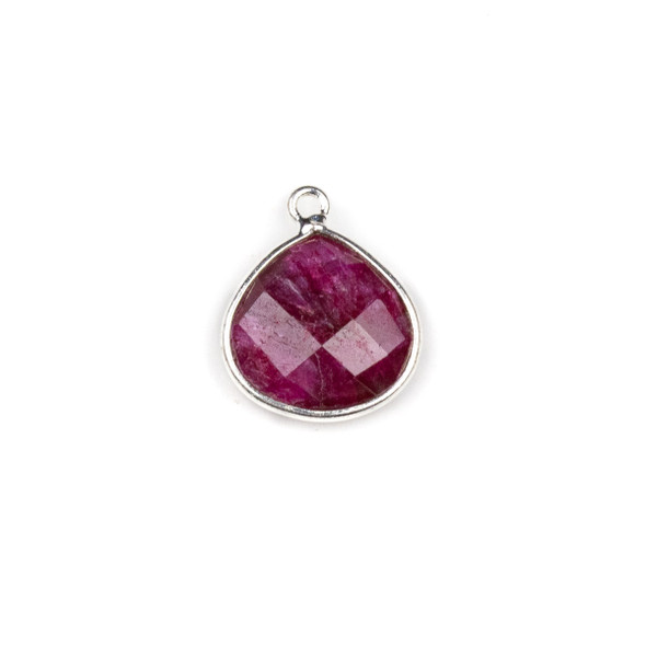 Ruby approximately 16x19mm Almond Teardrop Drop with a Silver Plated Brass Bezel - 1 per bag
