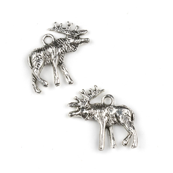 Silver Pewter 22x24mm Moose Charm - 10 per bag