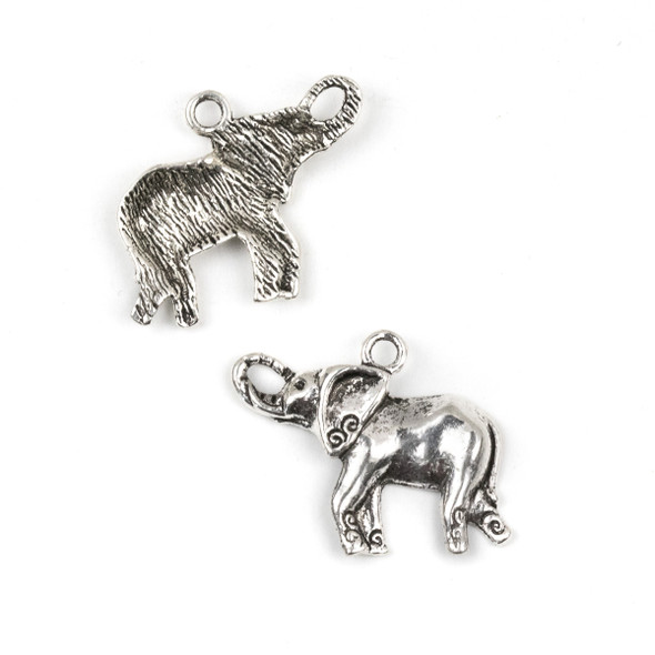 Silver Pewter 20x27mm Elephant Charm - 10 per bag