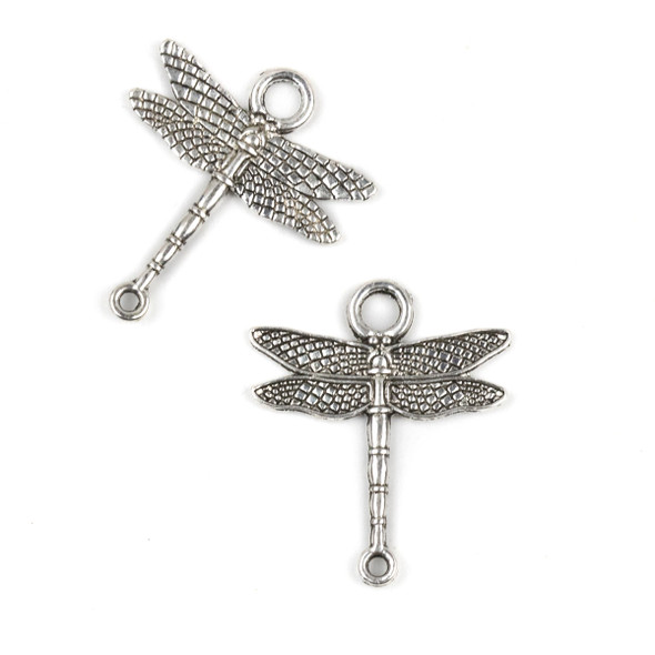 Silver Pewter 23x27mm Dragonfly Link Charm - 10 per bag