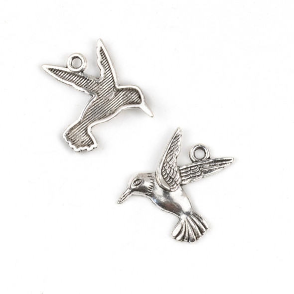 Silver Pewter 23x25mm Hummingbird Charm - 10 per bag