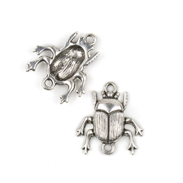 Silver Pewter 22x24mm Scarab Beetle Link Charm - 10 per bag
