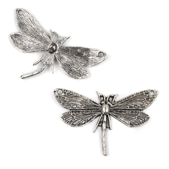 Silver Pewter 30x48mm Dragonfly Link Pendant - 10 per bag