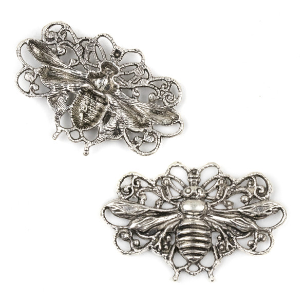 Silver Pewter 29x45mm Flying Bee Link Pendant - 3 per bag