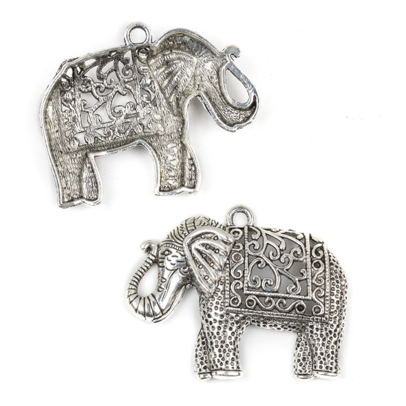Silver Pewter 48x59mm Decorated Elephant Pendant with Vine Cut Outs - 2 per bag