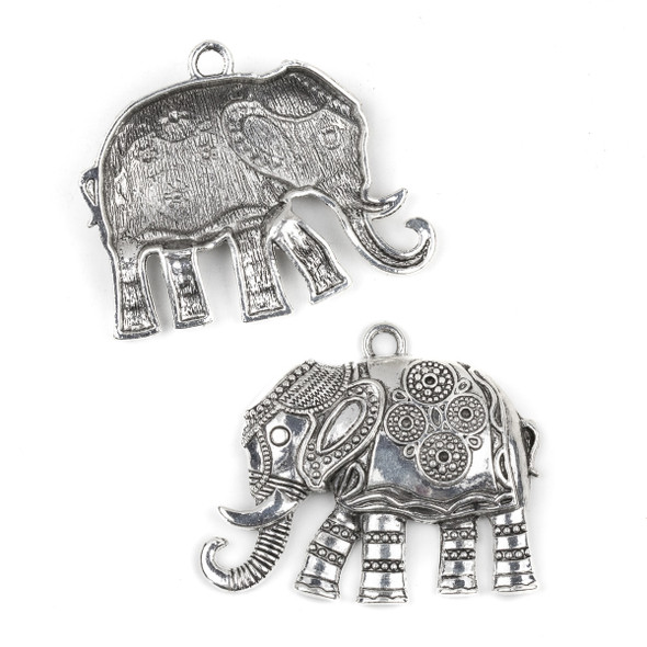 Silver Pewter 48x57mm Fancy Elephant Pendant with Elaborate Headdress - 2 per bag