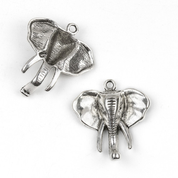 Silver Pewter 32x36mm Elephant Head Pendant - 3 per bag