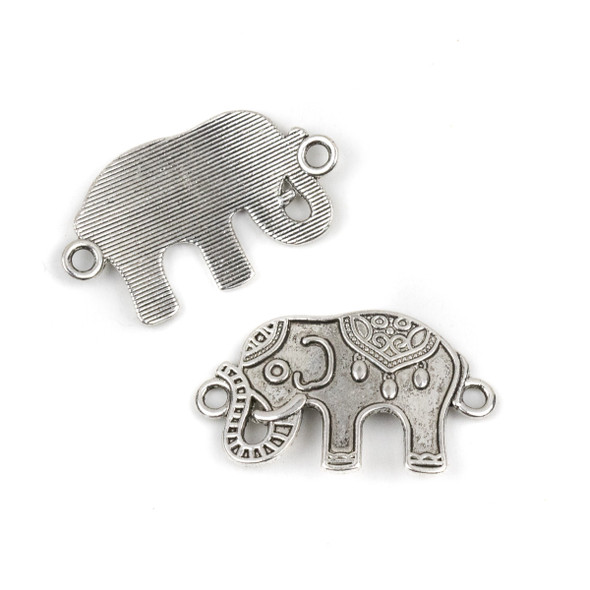 Silver Pewter 20x35mm Curved Elephant Link Pendant - 10 per bag