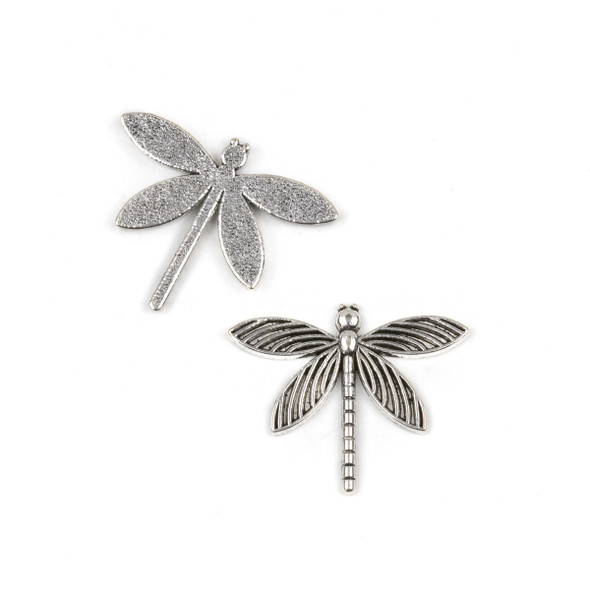 Silver Pewter 34x28mm Dragonfly Pendant (no loop) - 10 per bag