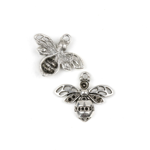 Silver Pewter 25x29mm Flying Bug Pendant with Open Setting - 10 per bag