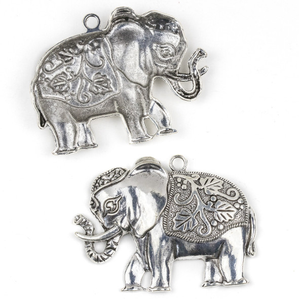 Silver Pewter 55x72mm Large Elephant Pendant with Leaf Saddle - 2 per bag