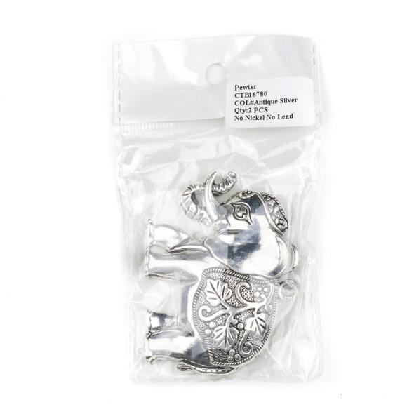 Silver Pewter 55x72mm Large Elephant Pendant with Leaf Saddle - 2 per bag