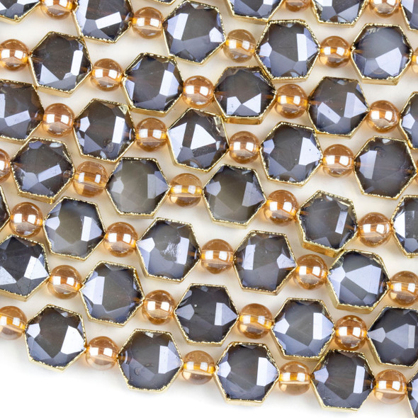 Crystal 10x12mm Opaque Grey Faceted Hexagon Beads with Golden Foil Edges - 6 inch strand