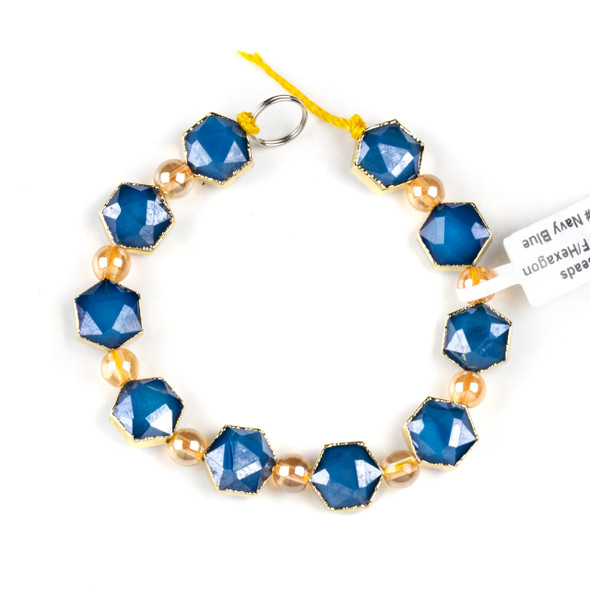 Crystal 10x12mm Opaque Navy Blue Faceted Hexagon Beads with Golden Foil Edges - 6 inch strand