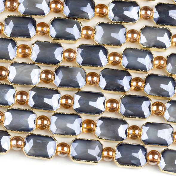 Crystal 10x14mm Opaque Grey Faceted Rectangle Beads with Golden Foil Edges - 7 inch strand