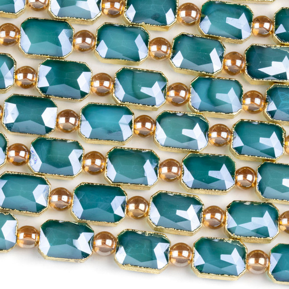 Crystal 10x14mm Opaque Blue Faceted Rectangle Beads with Golden Foil Edges - 7 inch strand
