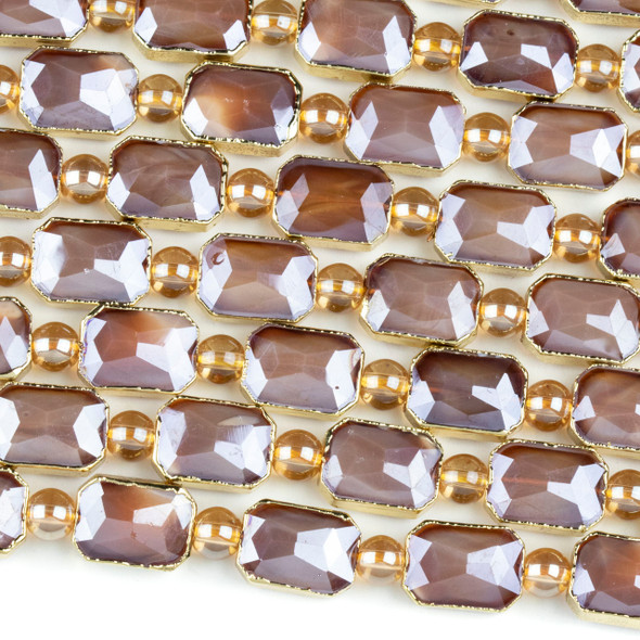 Crystal 10x14mm Opaque Brown Faceted Rectangle Beads with Golden Foil Edges - 7 inch strand
