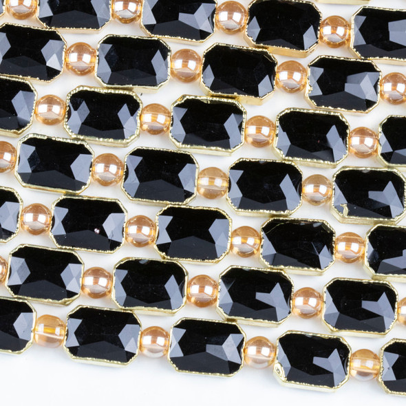 Crystal 10x14mm Opaque Black Faceted Rectangle Beads with Golden Foil Edges - 7 inch strand