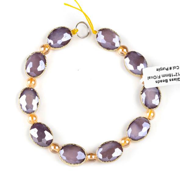 Crystal 12x16mm Opaque Purple Faceted Oval Beads with Golden Foil Edges - 8 inch strand