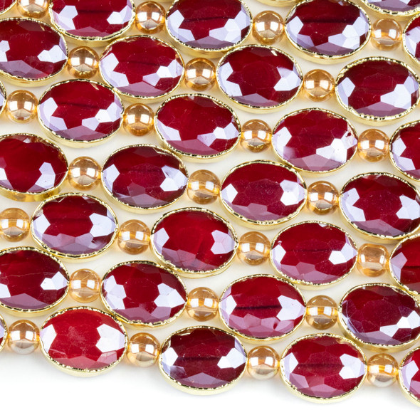 Crystal 12x16mm Opaque Red Faceted Oval Beads with Golden Foil Edges - 8 inch strand