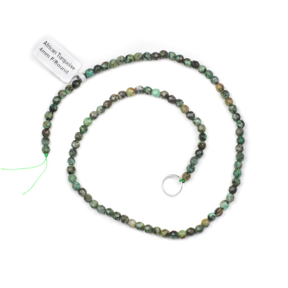 African Turquoise 4mm Faceted Round Beads - 15 inch strand