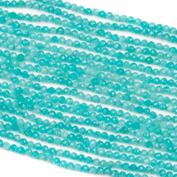 Blue Amazonite 3mm Faceted Round Beads - 15 inch strand