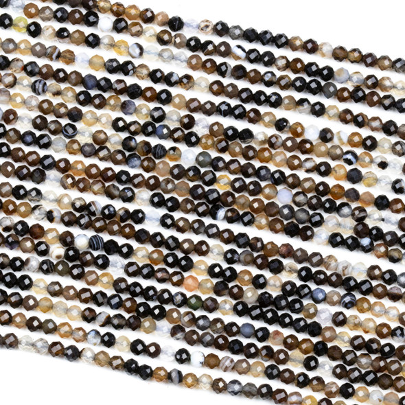 Black Lace Agate 3mm Faceted Round Beads - 15 inch strand