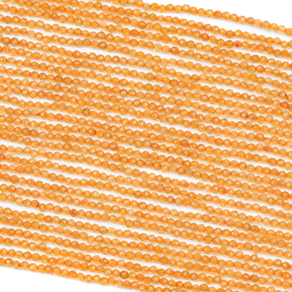 Dyed Orange Citrine 2mm Faceted Round Beads - 15 inch strand