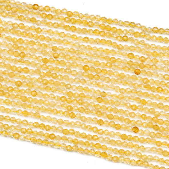 Citrine 3mm Faceted Round Beads - 15 inch strand