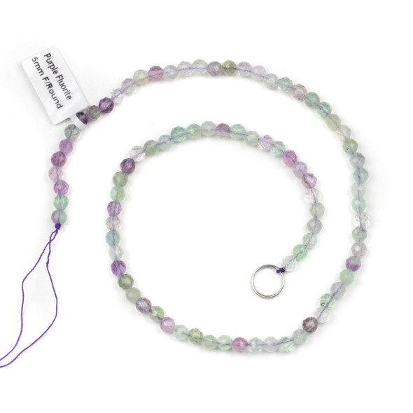 Purple Fluorite 5mm Faceted Round Beads - 15 inch strand