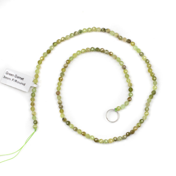 Green Garnet Grade AB 3mm Faceted Round Beads - 15 inch strand