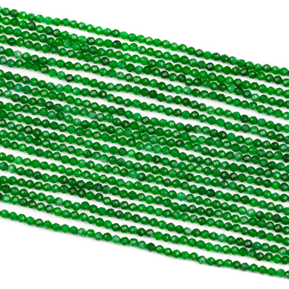 Dyed Jade 2.5mm Green Faceted Round Beads - 15 inch strand