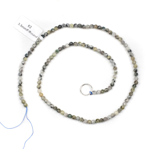 K2 Granite 3.5mm Faceted Round Beads - 15 inch strand