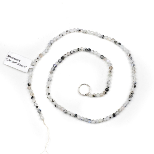 Rainbow Moonstone 3.5mm Faceted Round Beads - 15 inch strand