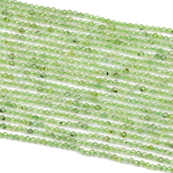 Prehnite 2.5mm Green Faceted Round Beads - 15 inch strand
